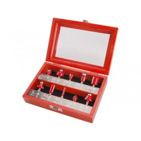 Фрези за обработка на дрво со SK  парче, сет 10пар., прифат 6mm,  во дрвена кутија EXTOL PREMIUM