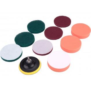 Комплет за чистење / полирање за штрафилица 10 парчиња, со дијаметар 100мм, 3х3 видови