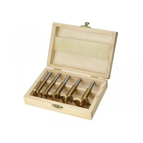 Фреза за кружен отвор, за дрво, сет 5пар, ∅15-20-25-30-35mm, носач 8mm, обложени со титаниум, во дрвена кутија, EXTOL CRAFT