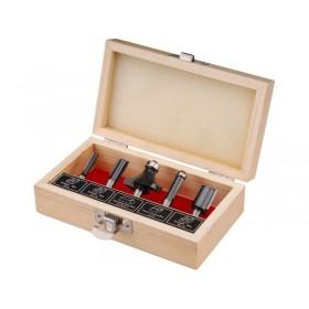 Фрези за обработка на дрво со SK парчиња, сет 5пар, носач 8mm, во дрвена кутија, EXTOL CRAFT