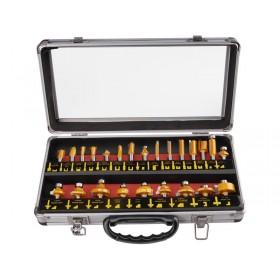 Фрези за обработка на дрво со SK парчиња, сет, 24пар, носач 8mm, во метален куфер, EXTOL PREMIUM