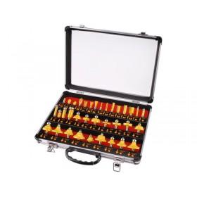 Фрези за обработка на дрво со SK парчиња, сет 35пар, носач 8mm, во метален куфер, EXTOL PREMIUM