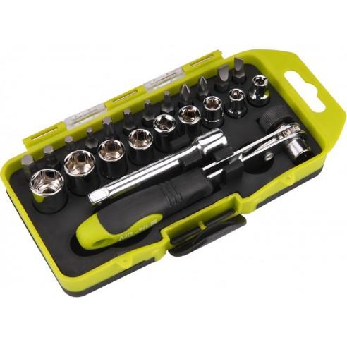 Одвртувач со крцкало со насадни клучеви и битови, сет 23пар, EXTOL CRAFT