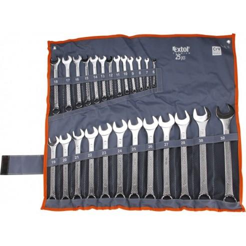 Клучеви вилушкасти/окасти сет 25пар, 6-32mm, полирани, EXTOL PREMIUM